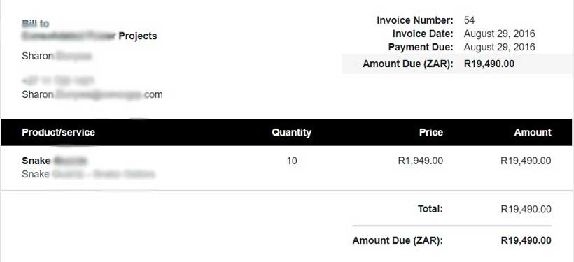 Snake product invoice